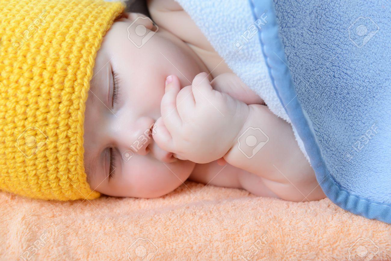 Cute Sleeping Baby Boy Beautiful Kid Dozing On Plaid Studio Stock Photo Picture And Royalty Free Image Image 22674711