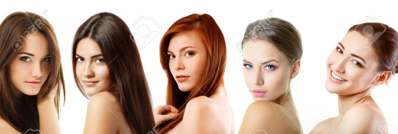 Beautiful girls, faces closeup over white Stock Photo - 22674919