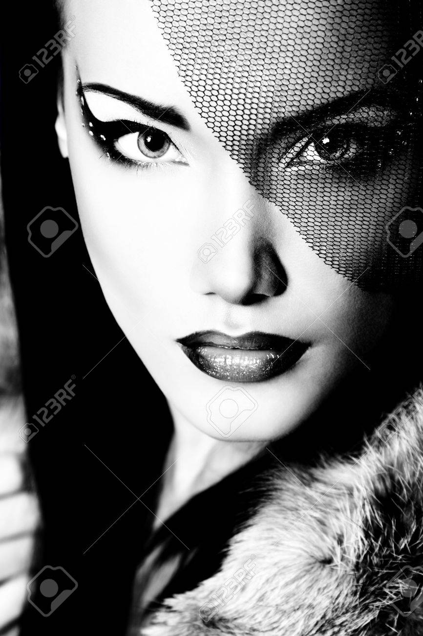 Beautiful woman black and white