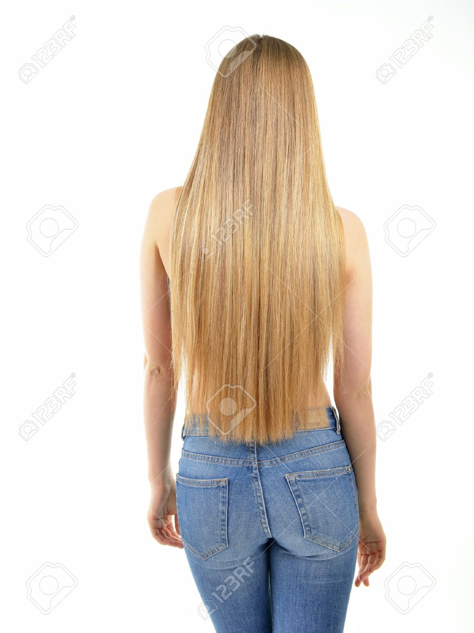 hair. beautiful woman with long healthy shiny smooth hair. back