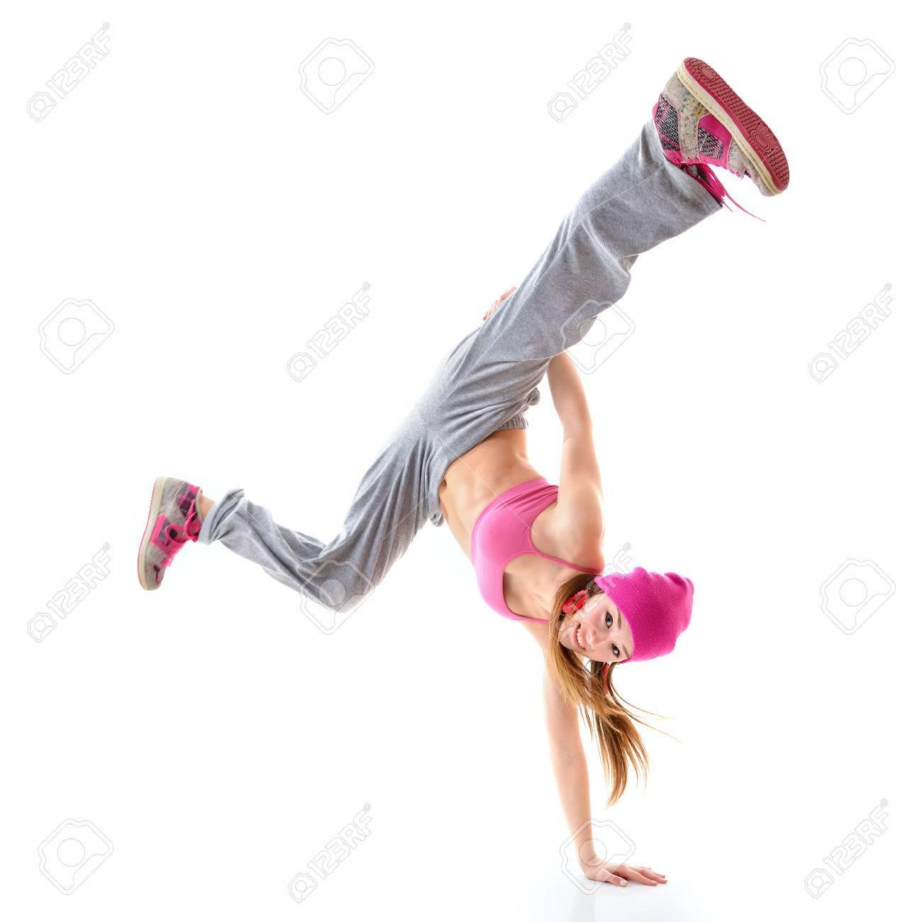 Assez Ados Danseur Fille Hip-hop Sur Fond Blanc Banque D'Images Et  SU23