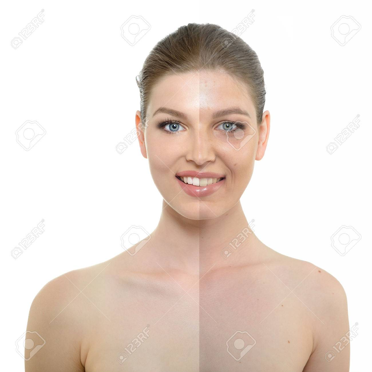 portrait of beautiful woman with problem and clean skin, aging and youth concept - 43233006