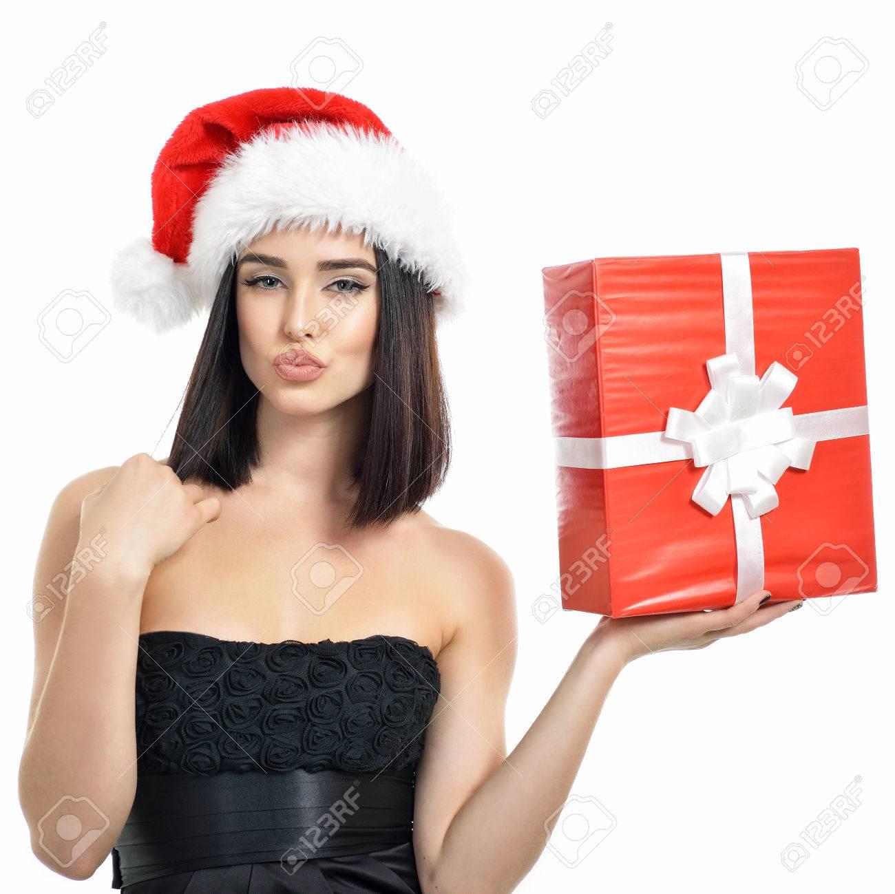 Weihnachten Mädchen. Schöne Weihnachten Frau Mit Geschenk-Box Und ...