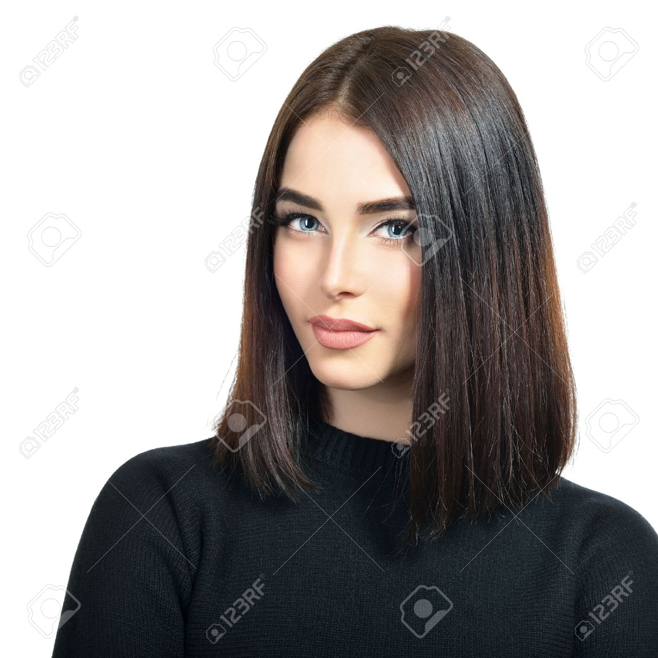 Portrait Of Beautiful Young Woman With Long Dark Brown Hair And