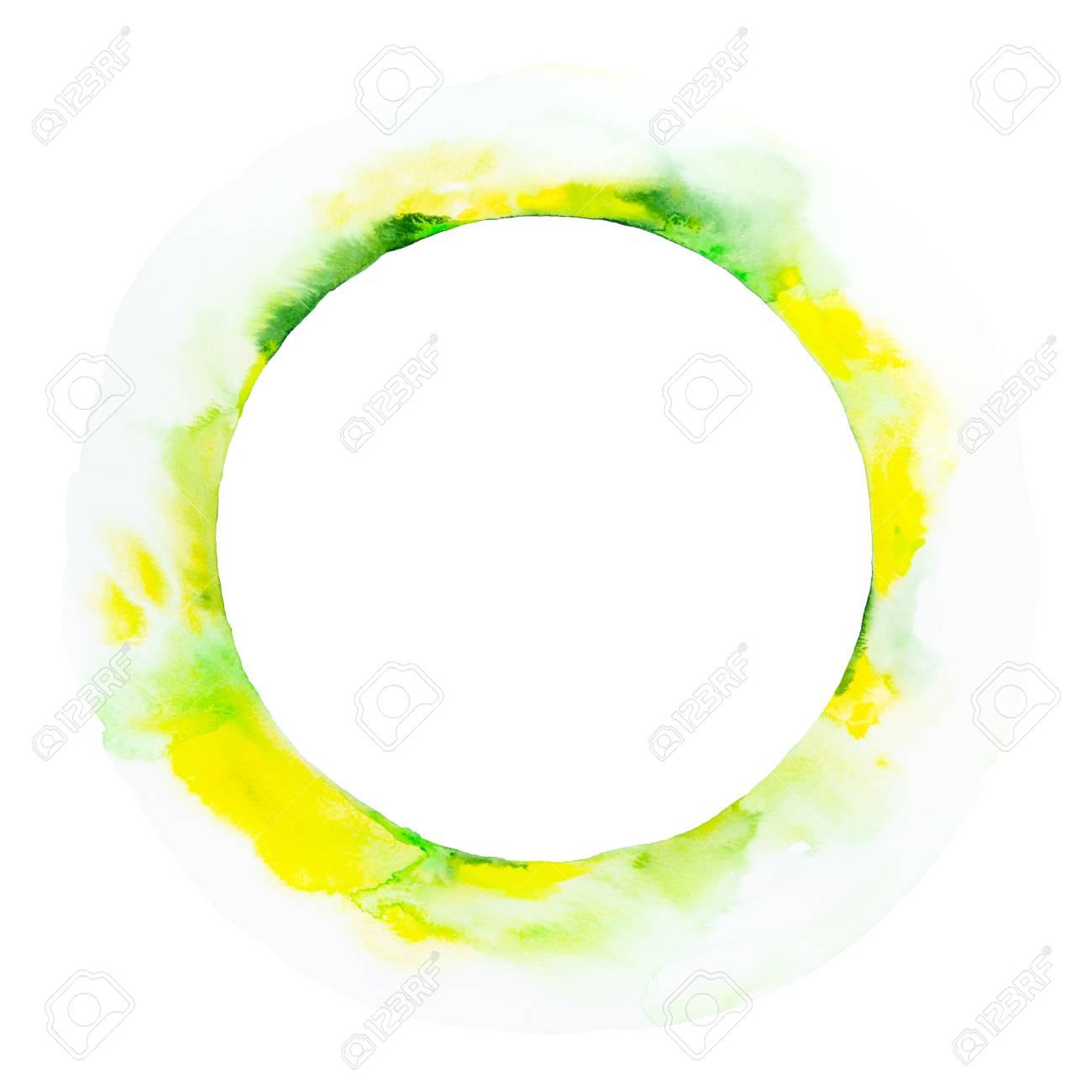 Abstract Yellow And Green Circle Watercolor Background. Hand.. Stock Photo,  Picture And Royalty Free Image. Image 122779091.