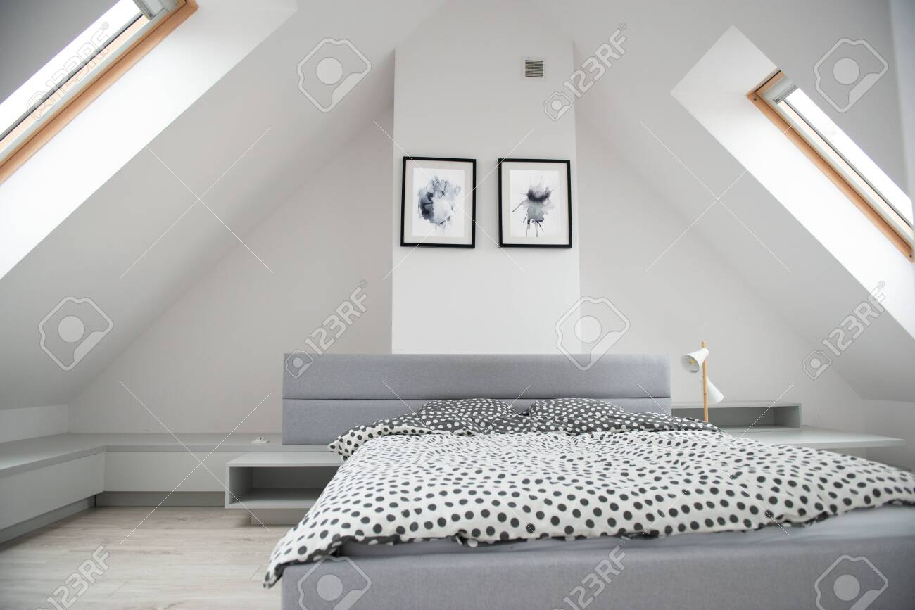 Modern Monochrome Design Home Interior Of Bedroom Room In Mansard Stock Photo Picture And Royalty Free Image Image 156825408