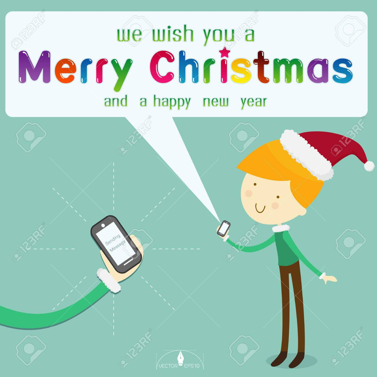 Junge Sankt-Hut Trägt Nachricht Frohe Weihnachten Von Smartphone Auf ...