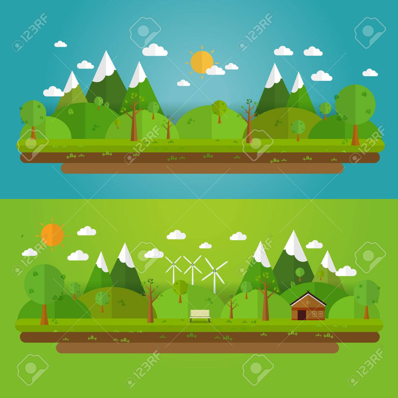 Natural landscape in the flat style. a beautiful park.Environmentally friendly natural landscape. - 53032169