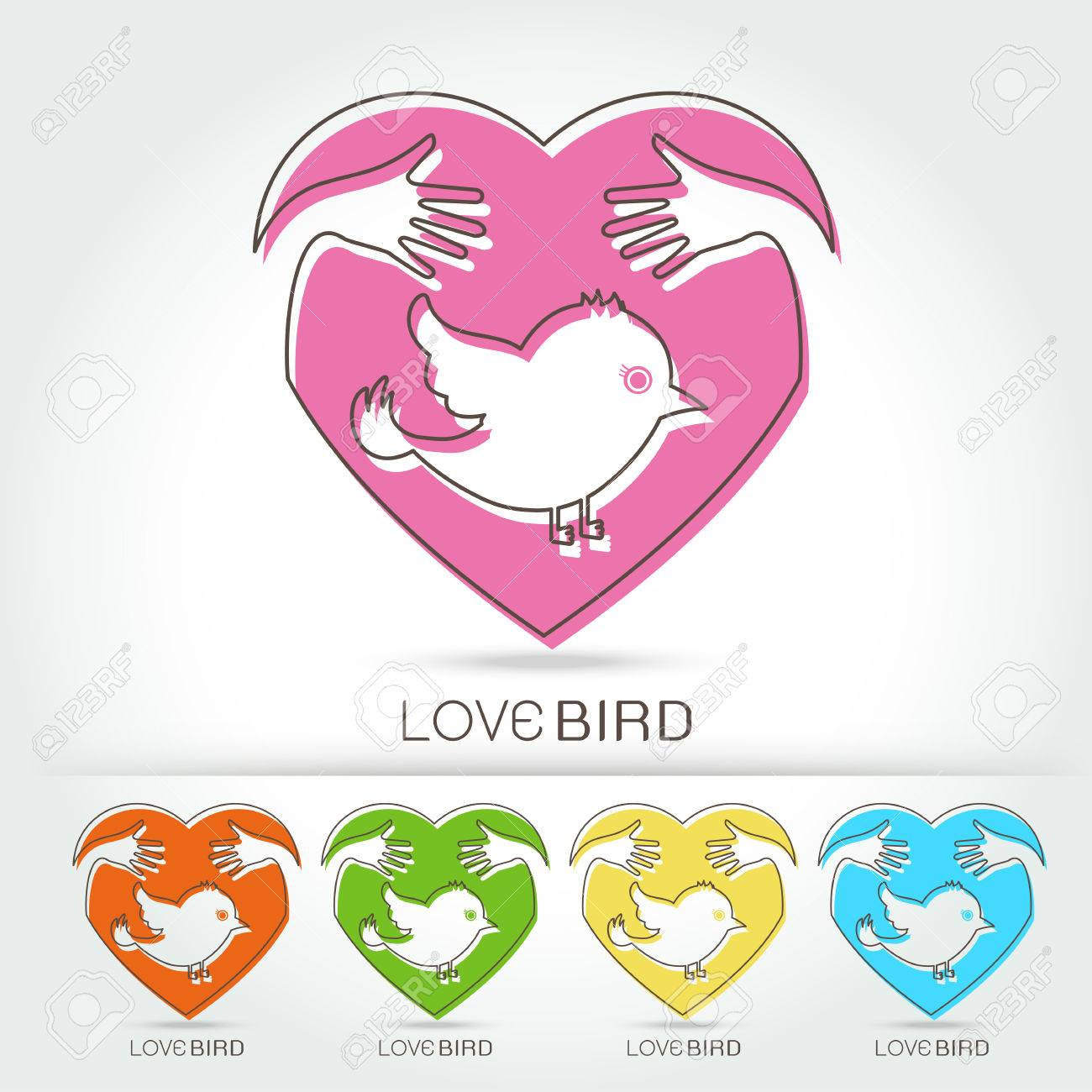 Preserve Bird With Hug In Heart Symbol Illustration Royalty Free