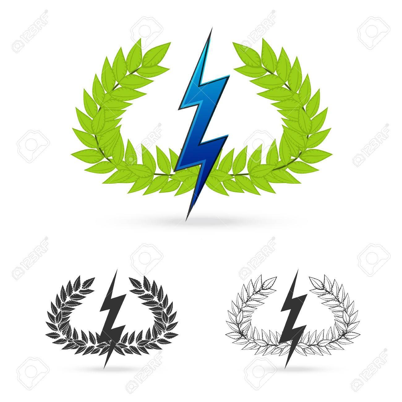 Isolate olive branch with thunder symbol of greek god zeus on isolate olive branch with thunder symbol of greek god zeus on white background vector illustration stock buycottarizona Images