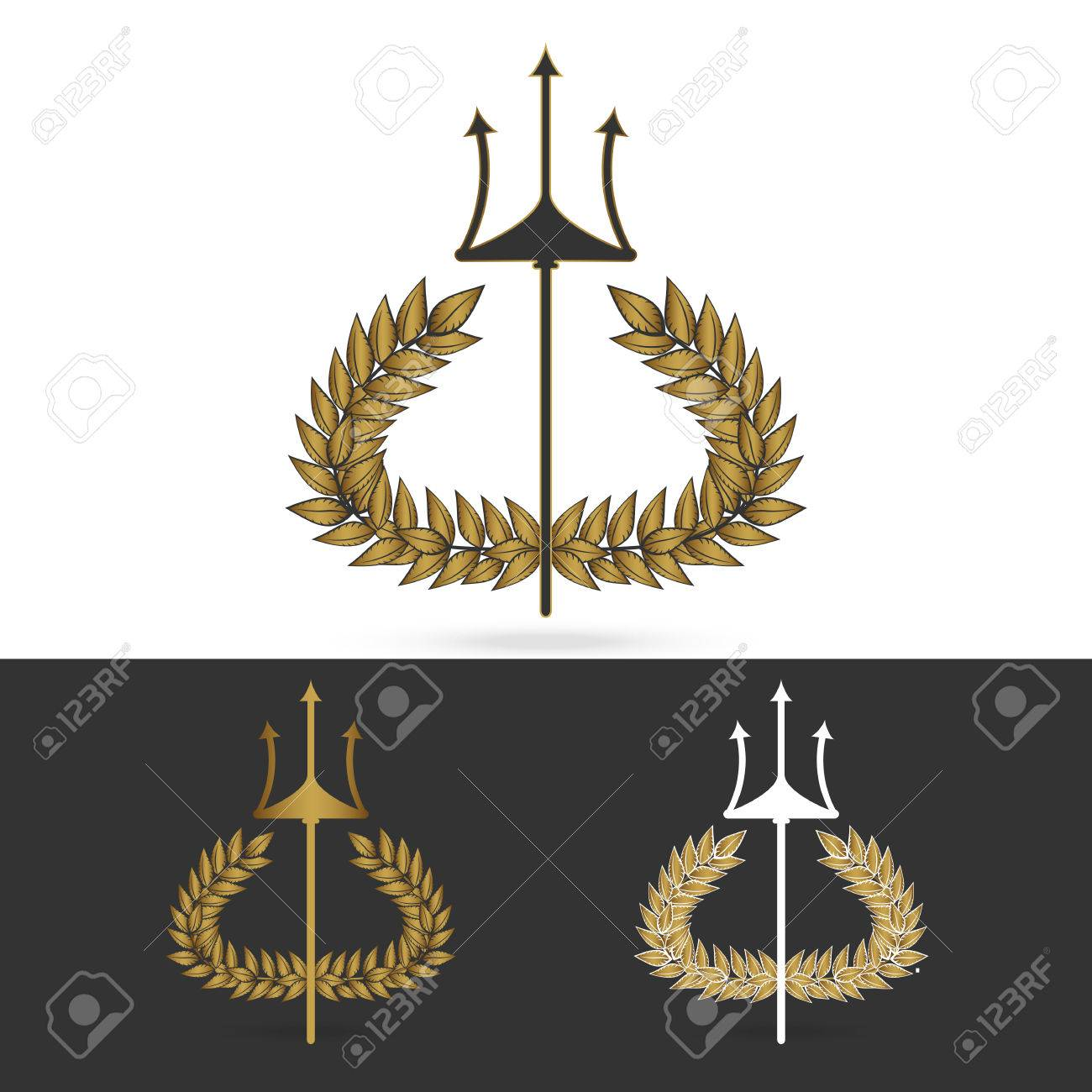 isolate olive branch with trident symbol of greek god poseidon