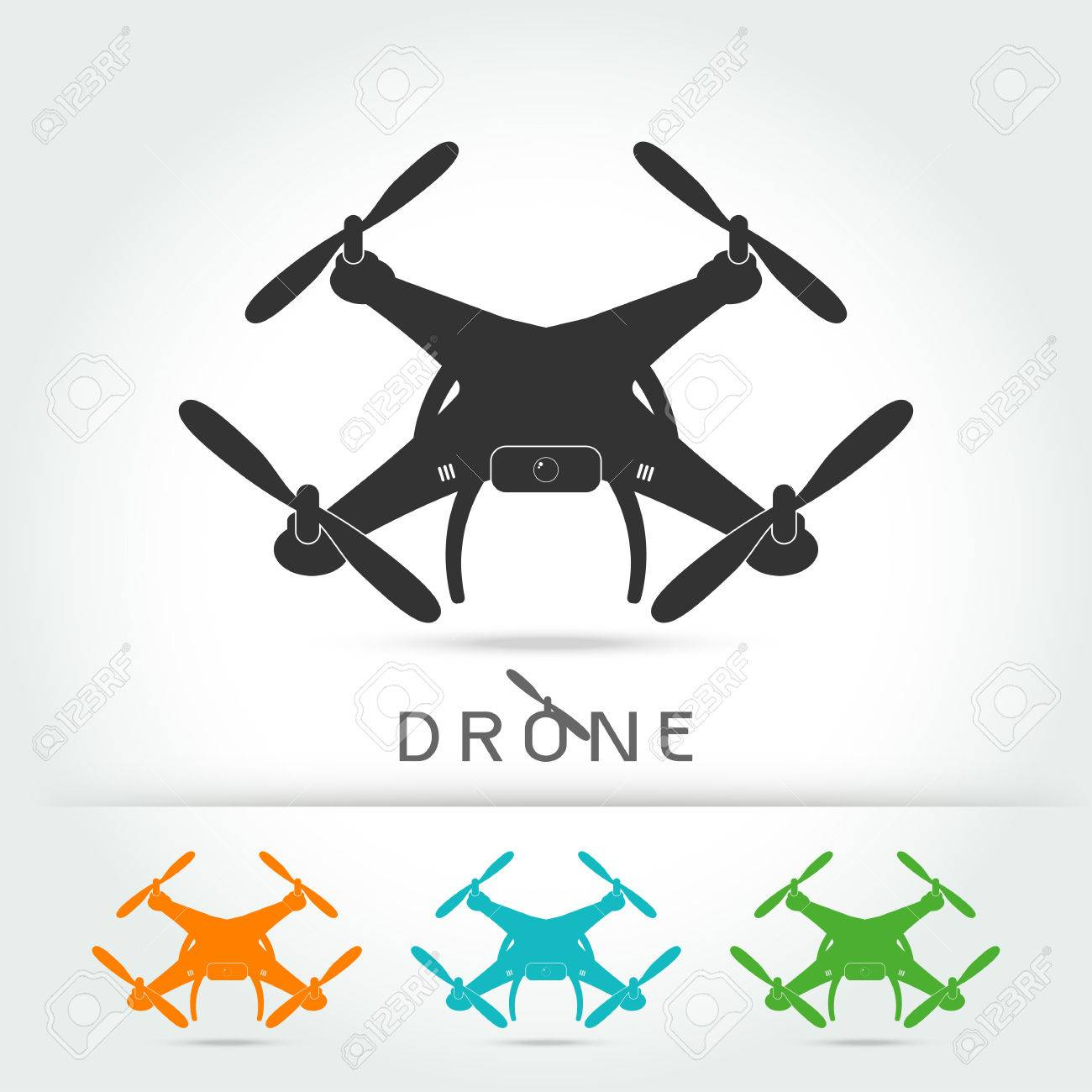 Drone With Video Camera Isolated Vector Silhouette Iconon White Background Illustration Stock
