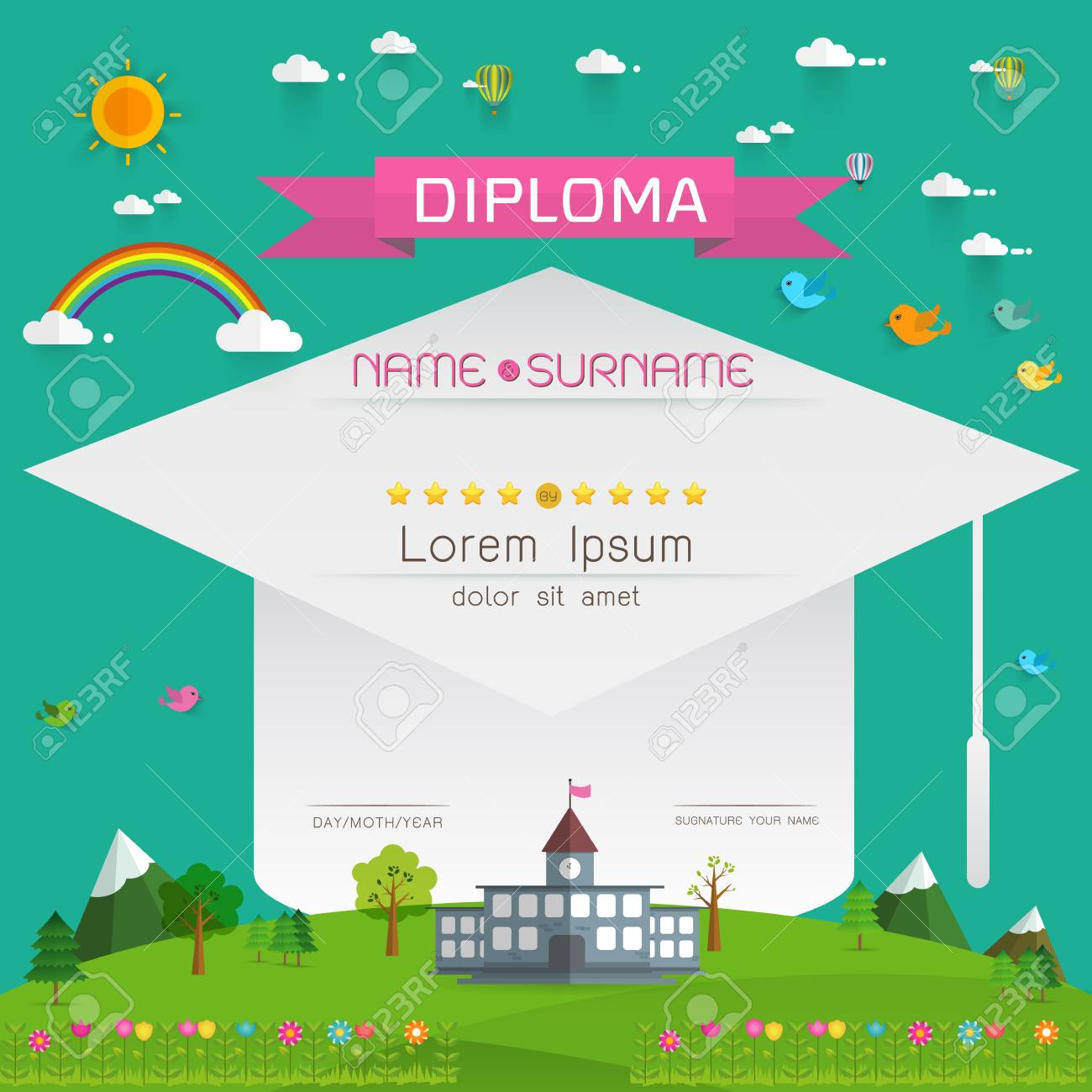 Certificate Kids Diploma, Kindergarten Template Layout Background ...