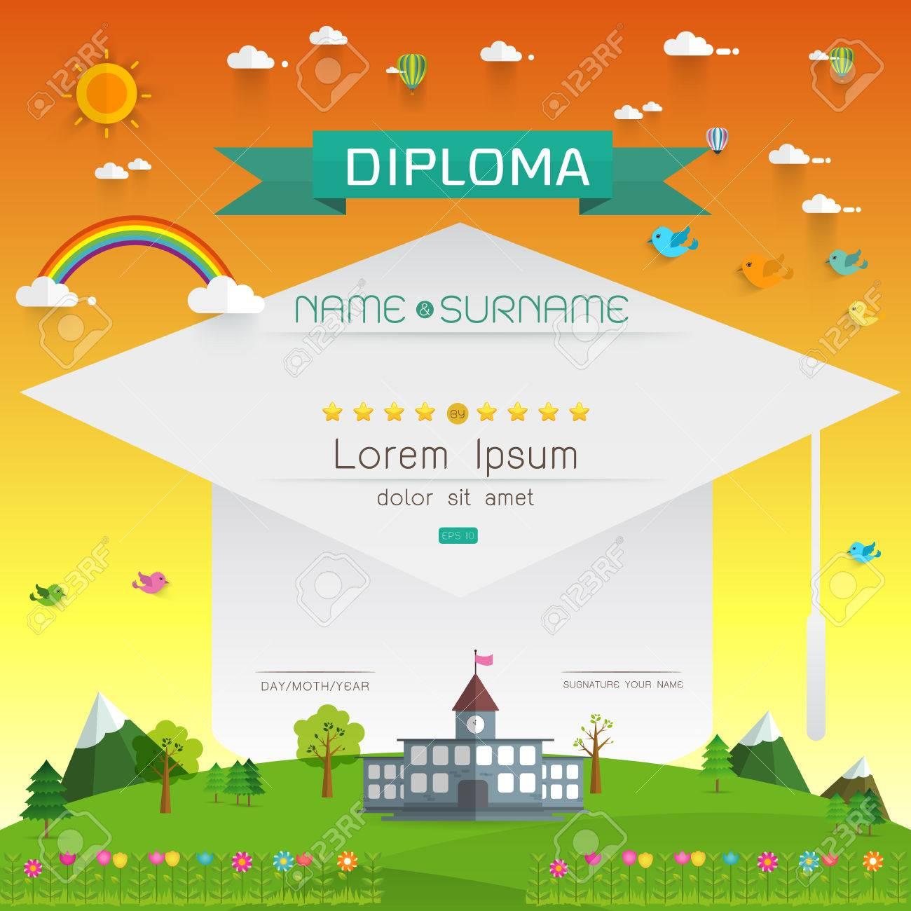 Niños Diploma Certificado, Guardería Diseño De La Plantilla Del ...