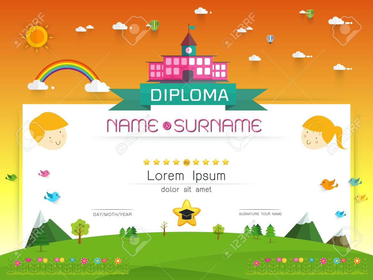 certificate kids diploma kindergarten template layout background frame design illustration preschool elementary school kids