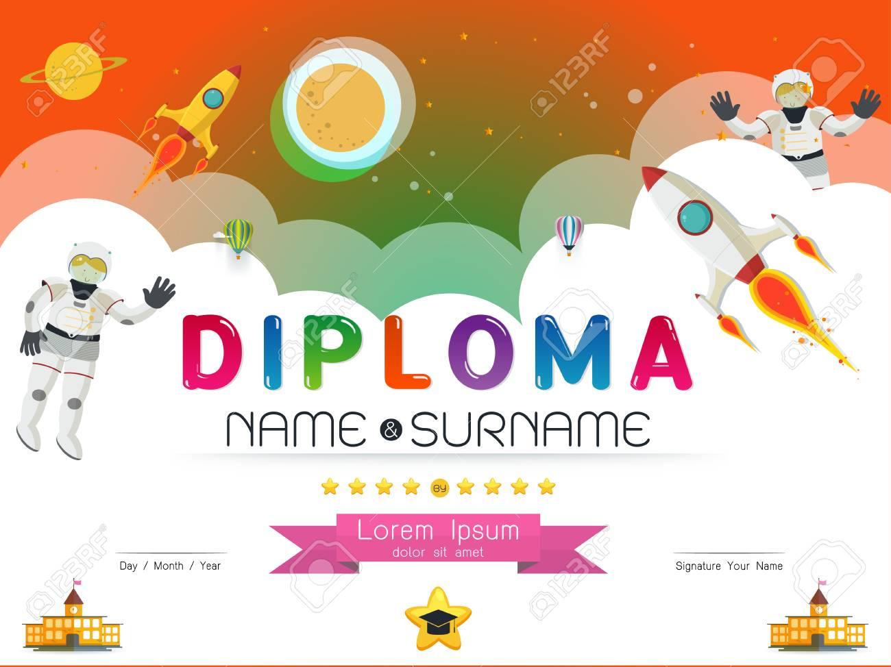 Plantilla De Diploma. Preescolar De La Escuela Primaria Los Niños ...