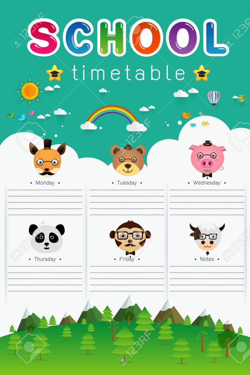 Background Frame Design Of School Timetable With Animal Head – School Time Table Designs