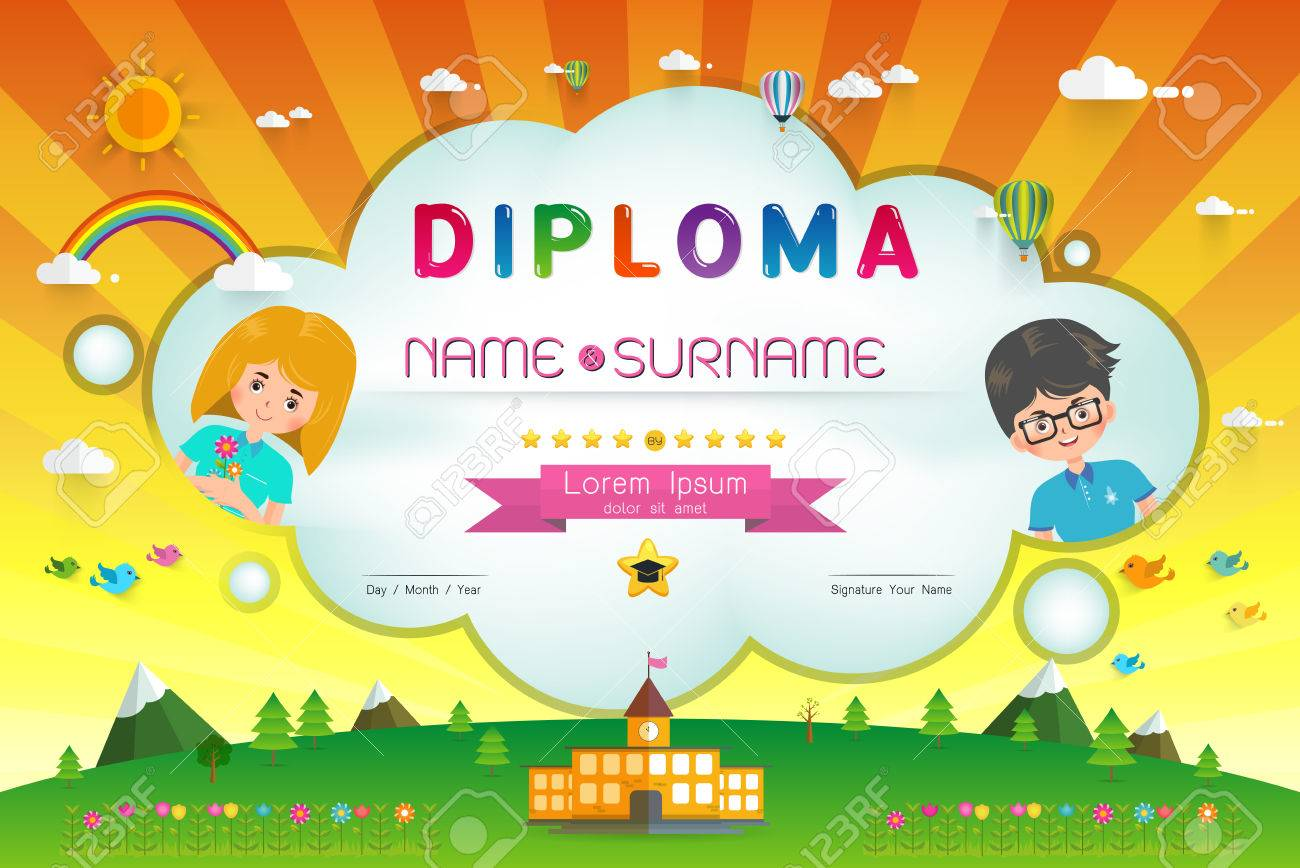 Certificate kids diploma kindergarten template layout background certificate kids diploma kindergarten template layout background frame design vector illustration preschool elementary school xflitez Images