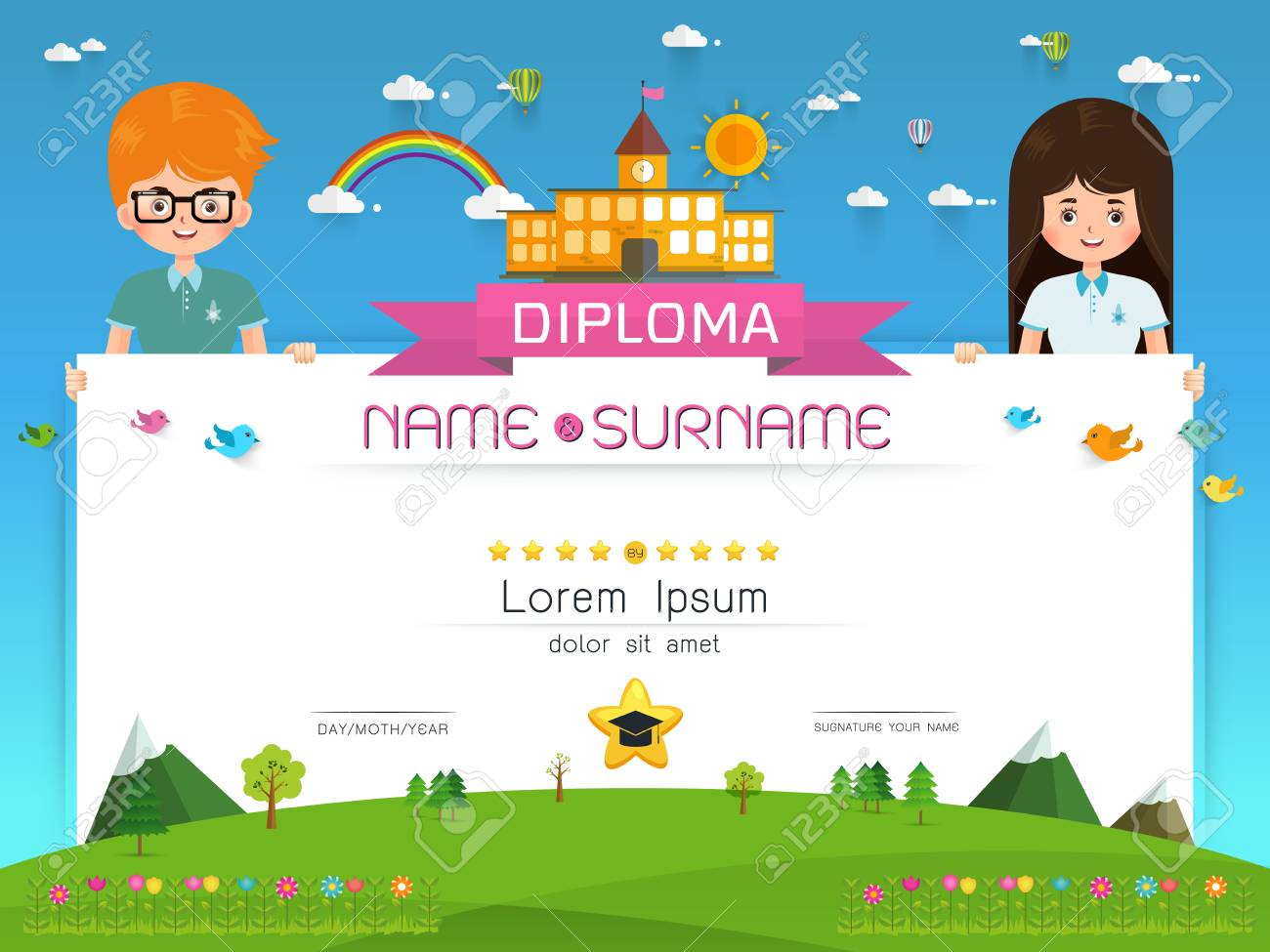 Certificate template for kids microsoft word flyer template free kids certificate templates free bank statement template student 84516535 certificate kids diploma kindergarten template layout background yadclub Gallery