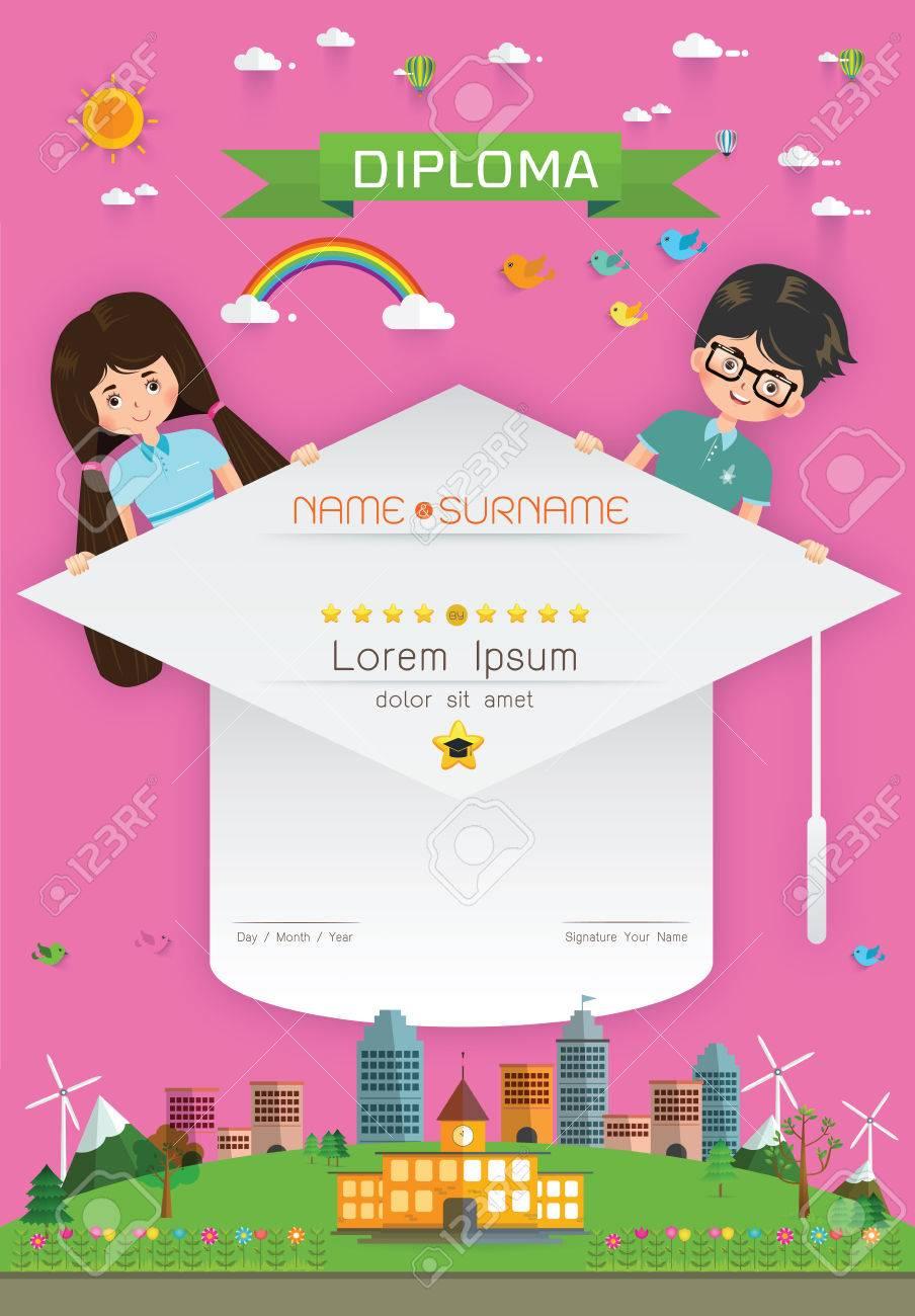 証明書の子供卒業証書、幼稚園テンプレート レイアウト背景フレーム