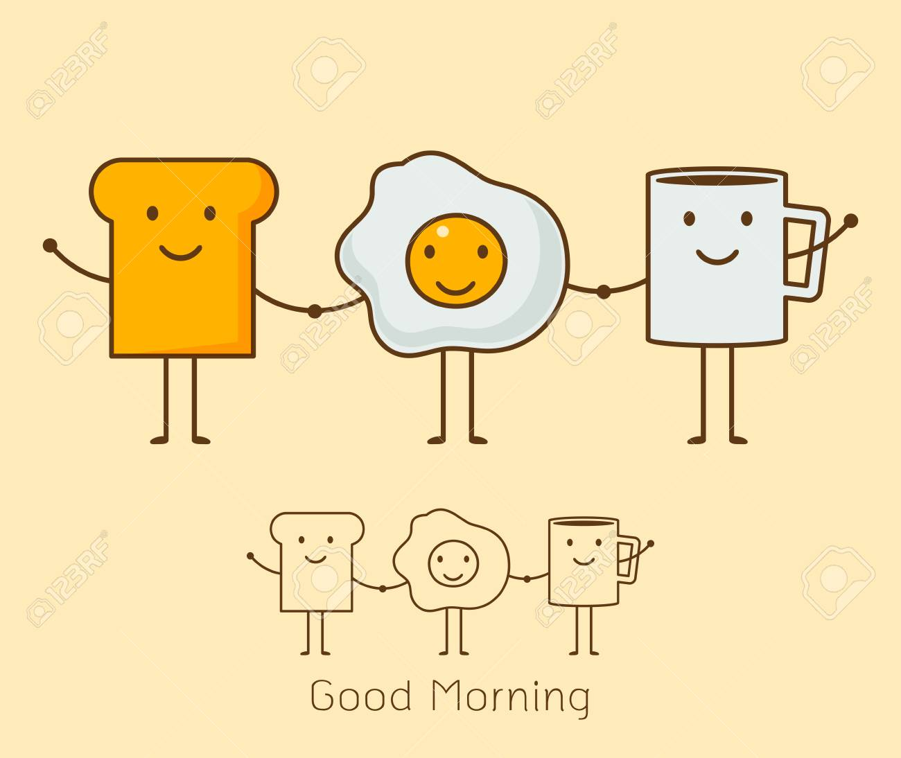 Set of Cute cartoon style icon of a coffee, eggs and toast. - 88627927