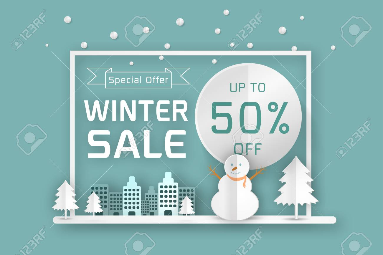 vector winter sale poster template smiling snow man in scarf