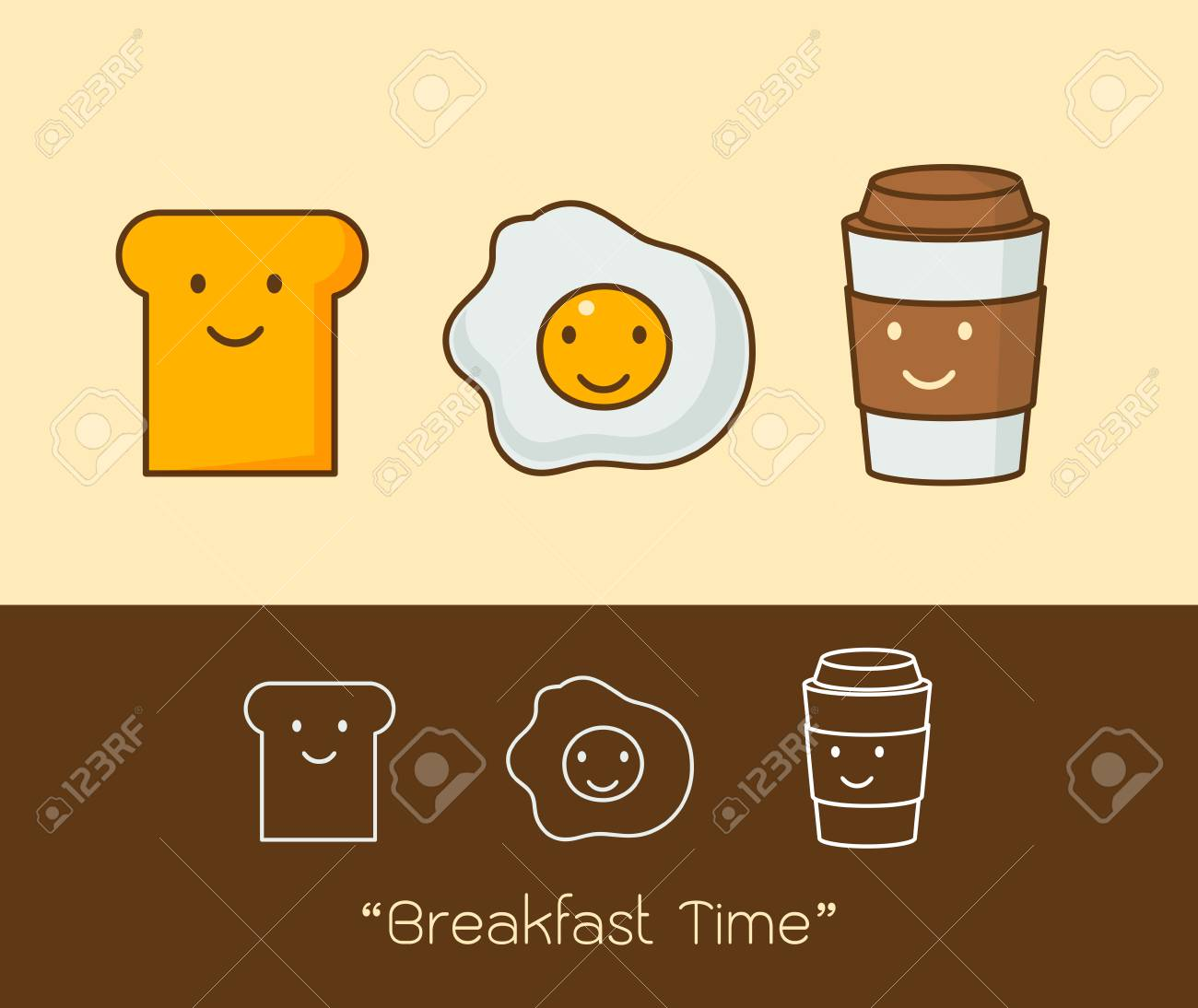 Best Friends Breakfast Good Morning Set Of Cute Picture Cartoon