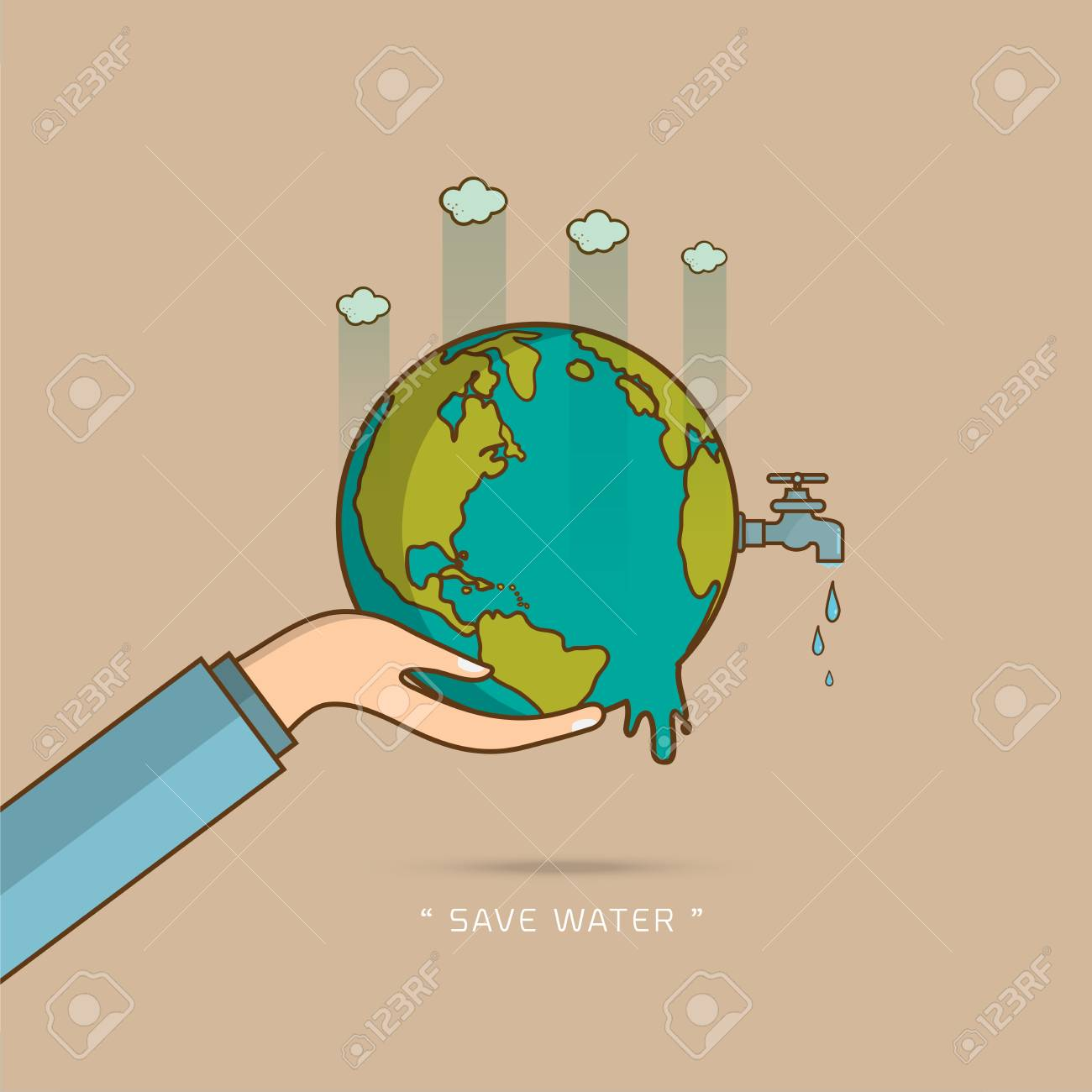 Water World Day With Hand Hold Faucet Or Water Tap With A Drop ...