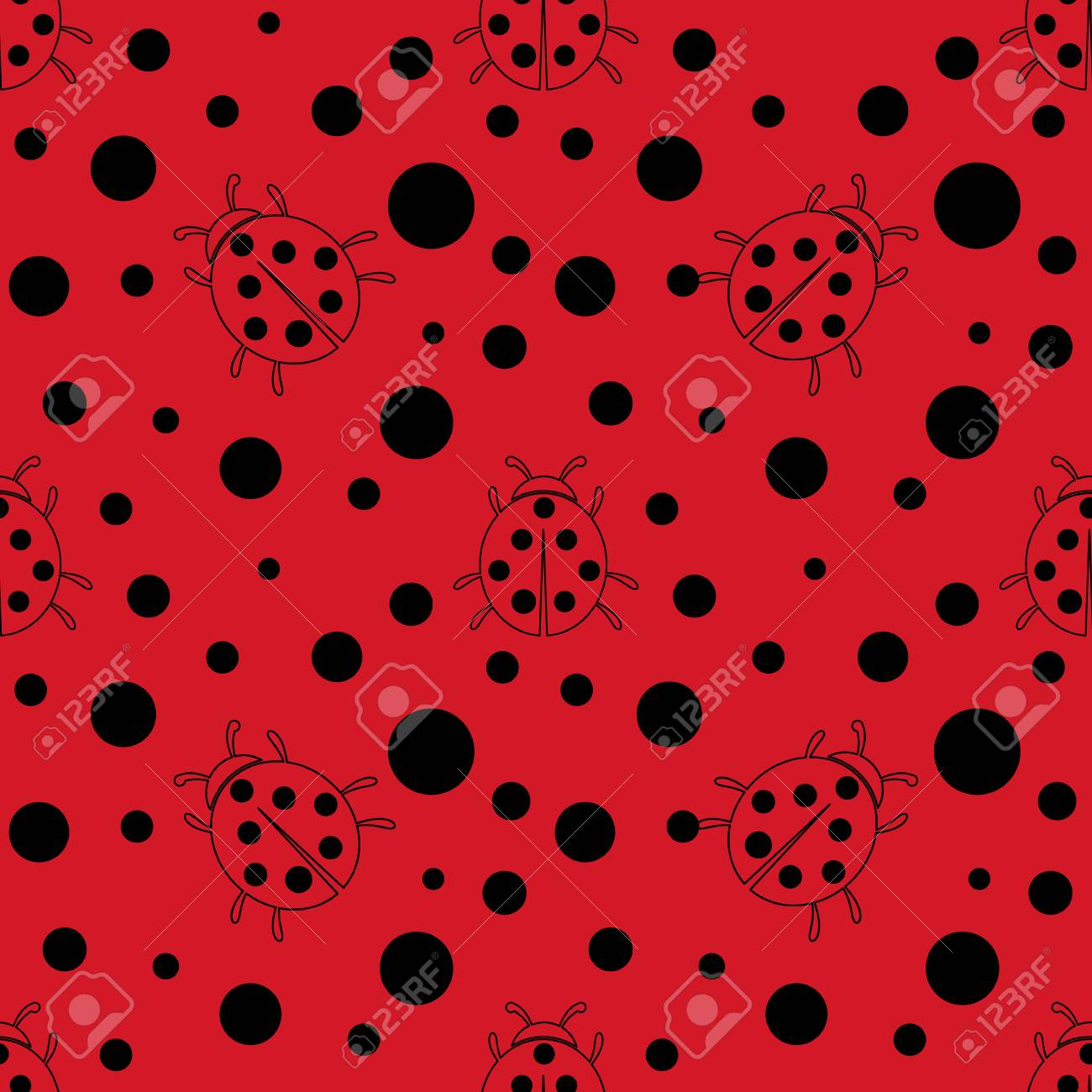 Seamless red and black dot pattern background  Ladybug or ladybird