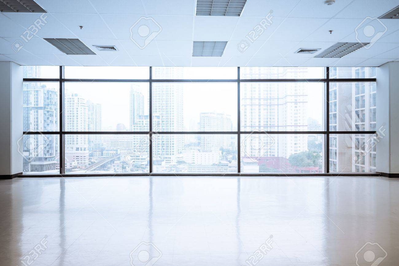 large office space. Empty Office Space With Large Window, Vintage Picture Style Process Stock Photo - 48533463 V