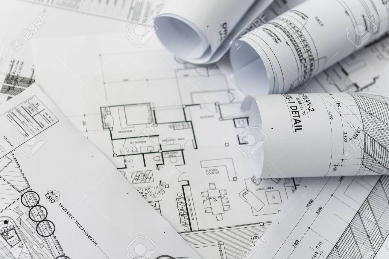 Architectural for construction drawings with roll of blueprint stock architectural for construction drawings with roll of blueprint stock photo 50288626 malvernweather Image collections