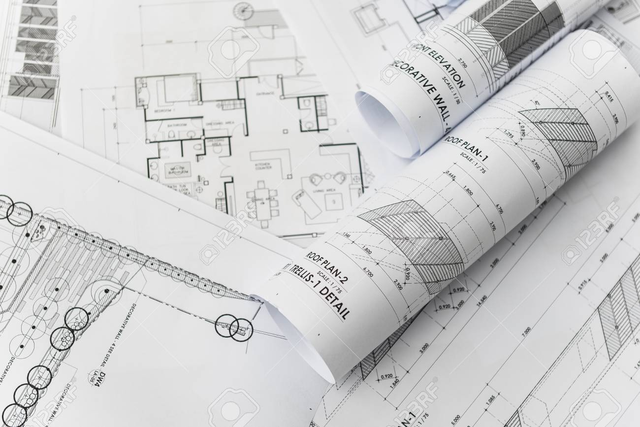 architectural for construction drawings with roll of blueprint - 50288645