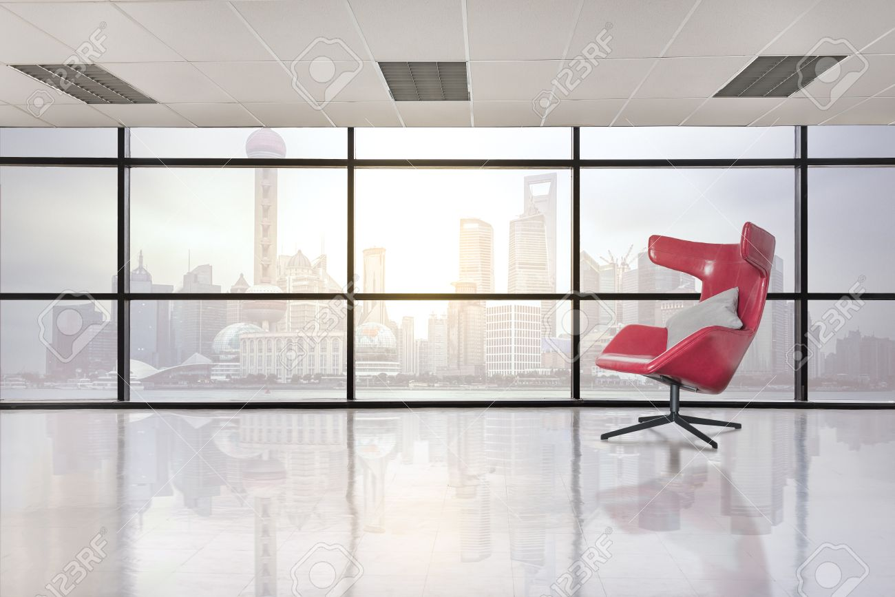 Red chair photography - Modern Red Chair In Empty Office Space With Large Window Vintage Picture Style Process Stock