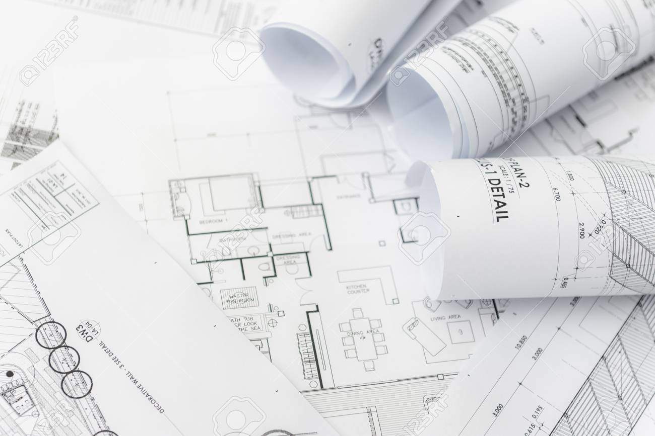 Architectural for construction drawings with roll of blueprint stock architectural for construction drawings with roll of blueprint stock photo 58983516 malvernweather Image collections