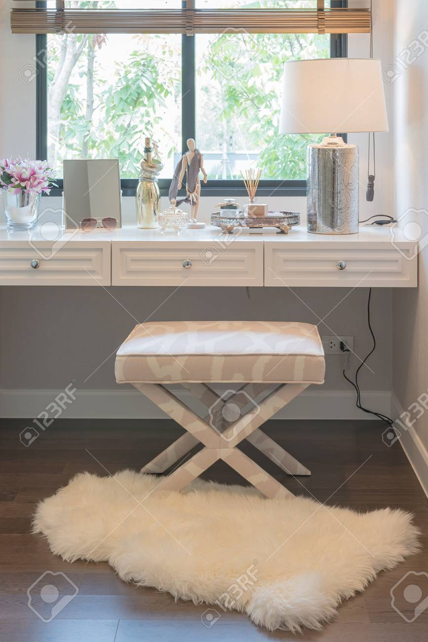 White Dressing Table And Chair With Women s Accesories Stock Photo ... 8621dc1bdd