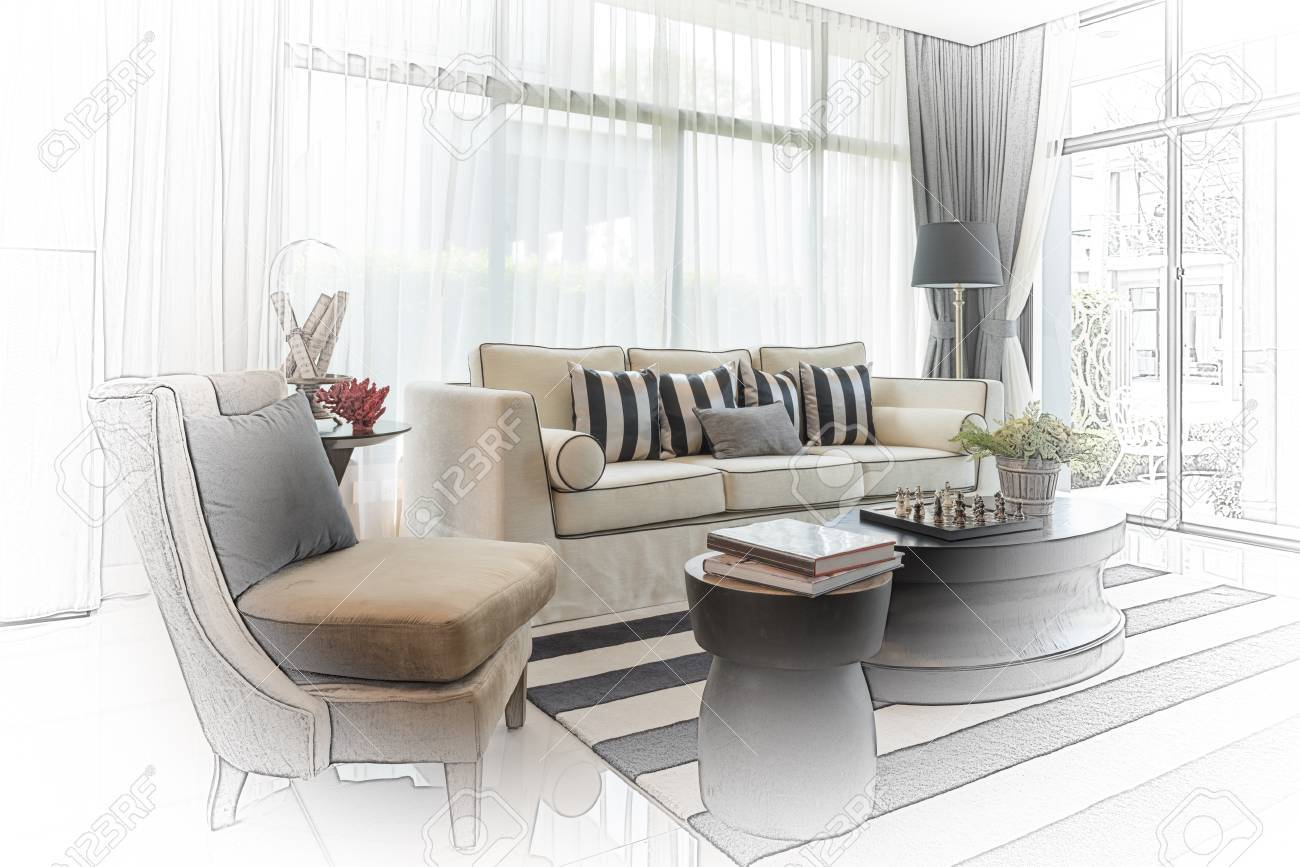 Interior Sketch Design Of Modern Living Room With Modern Chair ...