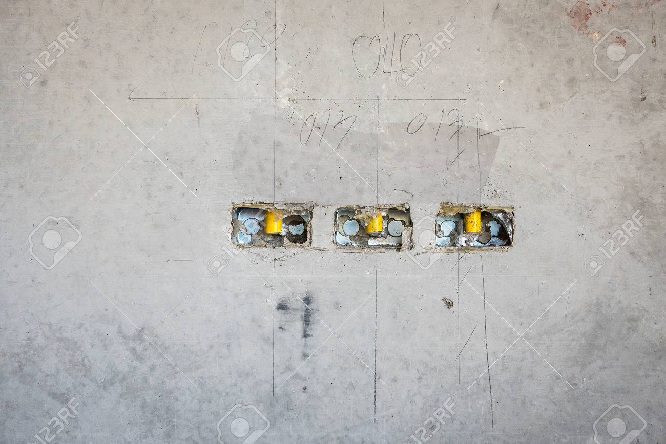 Electrical Socket Hole On Precat Concret Wall Outlet Electric Wiring A Receptacle Wires In Constuction Site Stock Photo