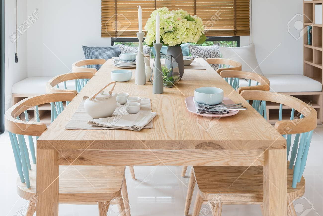 Wooden Dining Table In Modern Dining Room With Table Set And Stock Photo Picture And Royalty Free Image Image 80198838