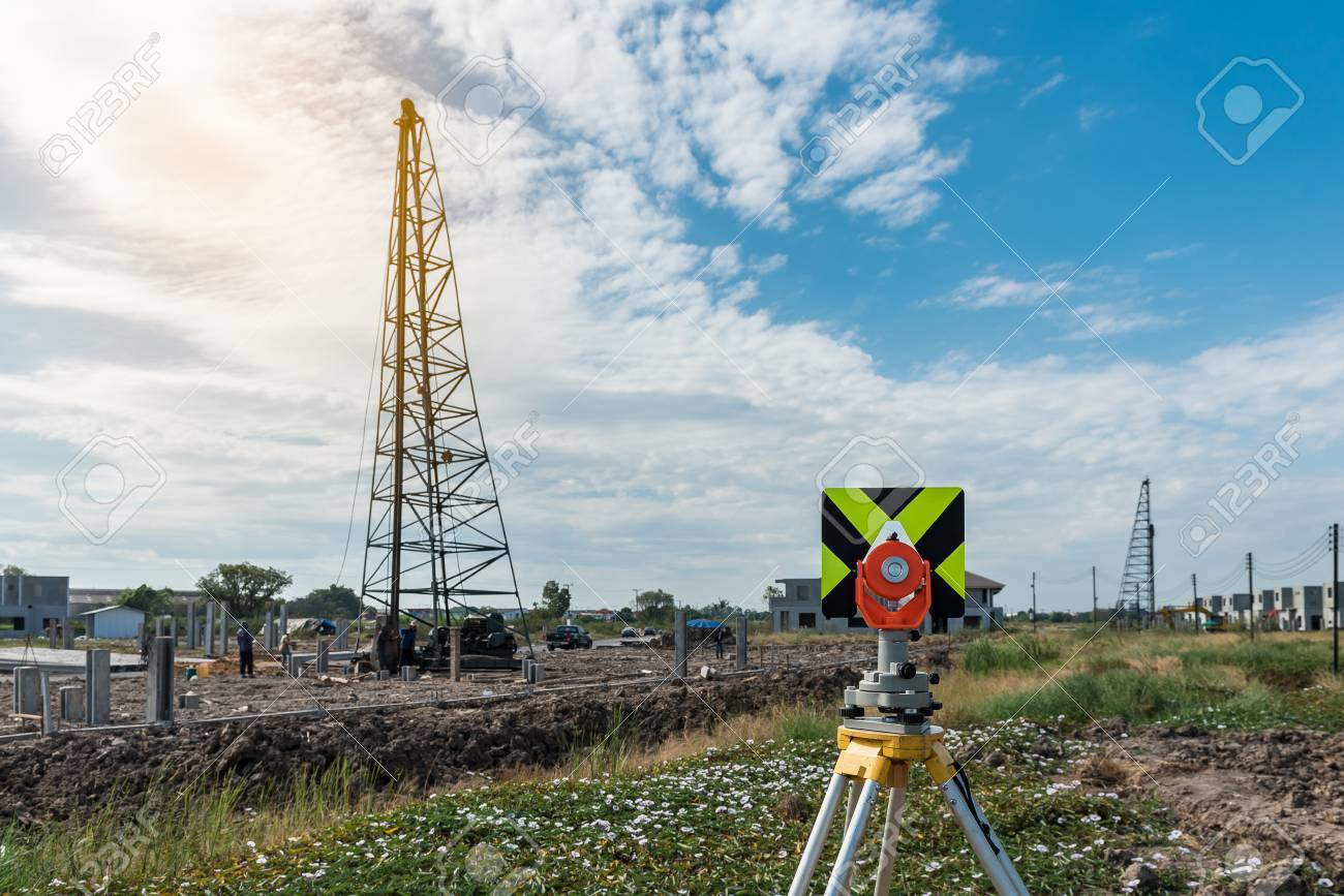 Civil Engineering And Construction Projects With Survey Equipment Tacheometer Or Theodolite Outdoors At Site Stock