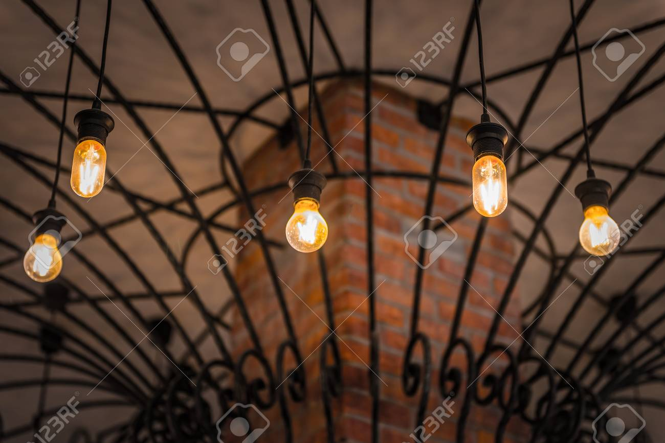 Group Of Hanging Lights In Coffee Shop With Shallow Depth Of Stock