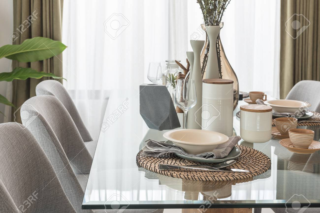Table Set On Glass Dining Table In Modern Dining Room Interior Stock Photo Picture And Royalty Free Image Image 84322805
