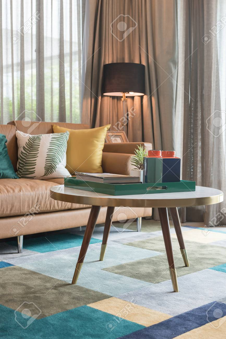 Modern Living Room Style With Set Of Pillows On Brown Sofa Interior Stock Photo Picture And Royalty Free Image Image 91274950
