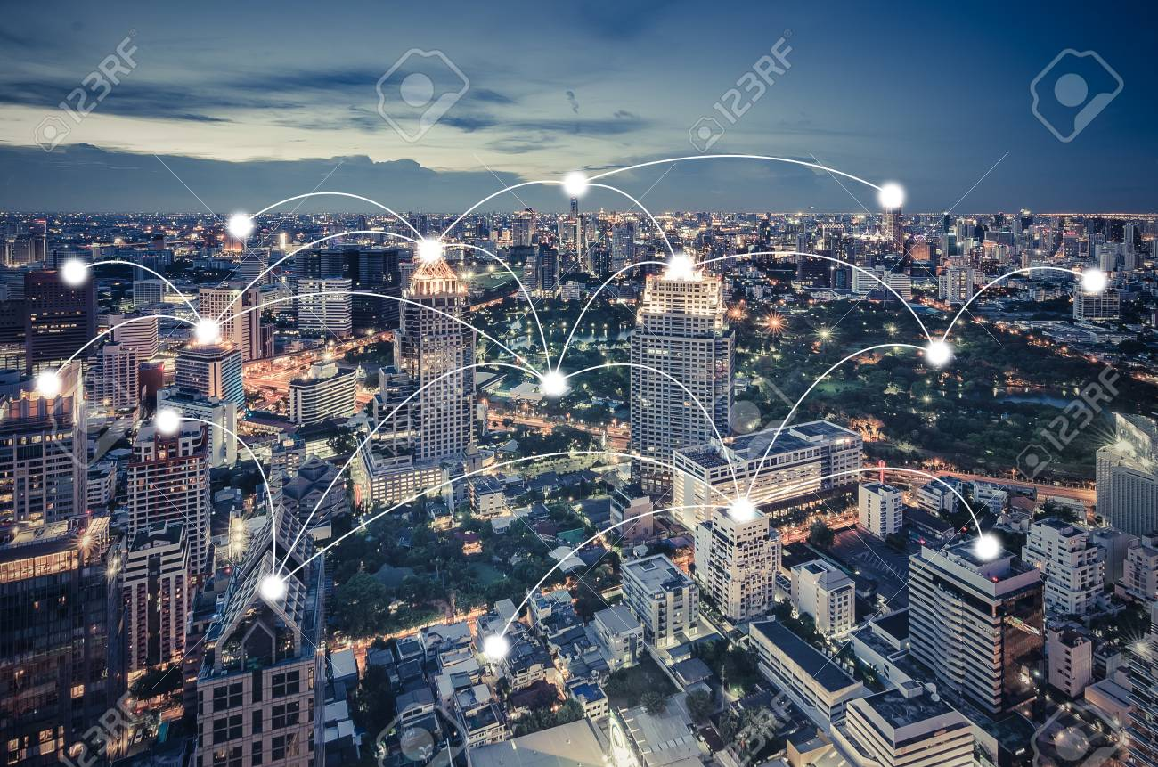 network and connection concept with cityscape as background, business concept, vintage style process - 98989112