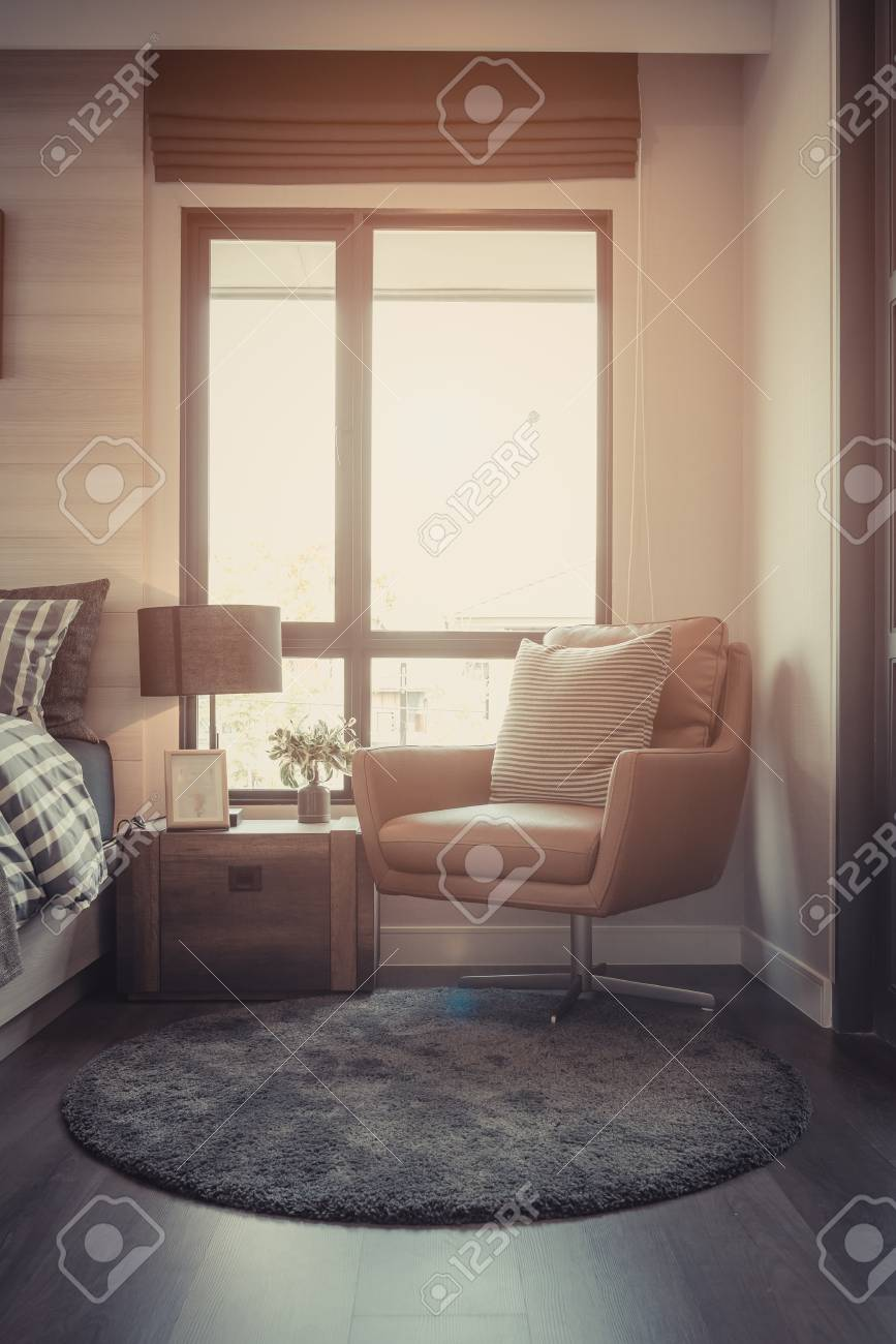 Modern Bedroom With Set Of Sofa And Table Side On Carpet Interior