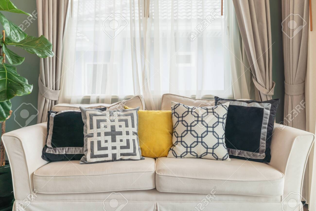 Modern Living Room With Modern White Sofa And Set Of Pillows Stock Photo Picture And Royalty Free Image Image 128370013