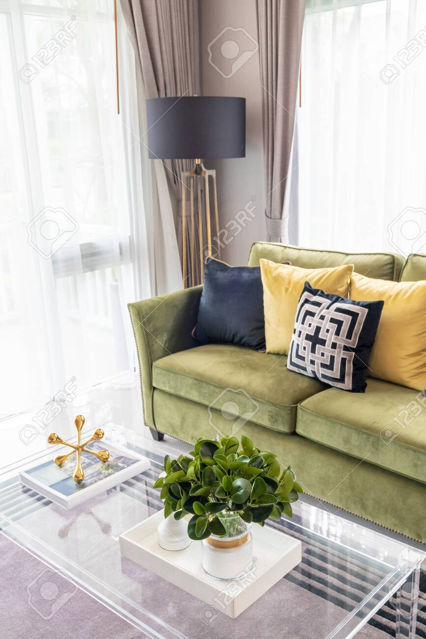 Modern Living Room Style With Modern Sofa And Set Of Pillows