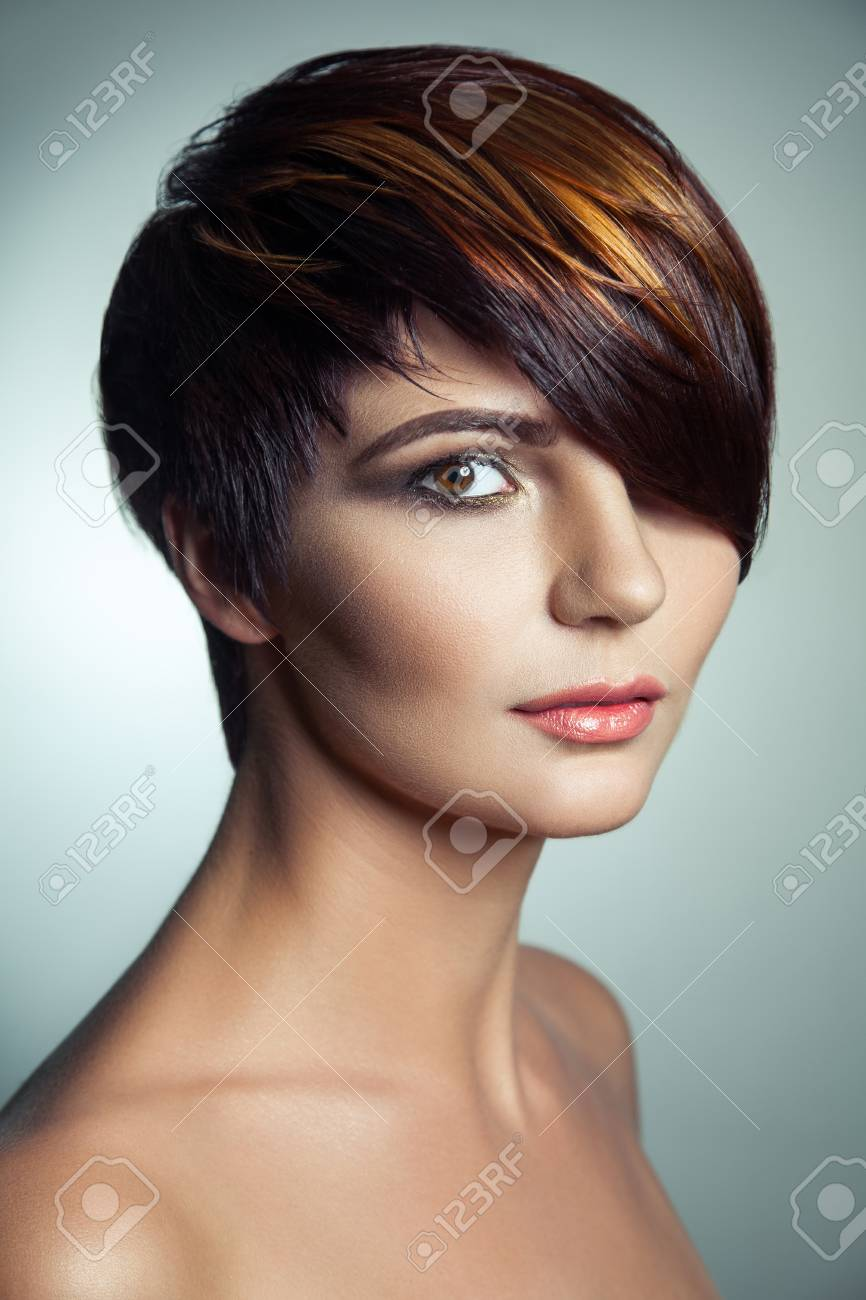 Fashion Portrait Of A Beautiful Girl With Colored Dyed Hair Stock