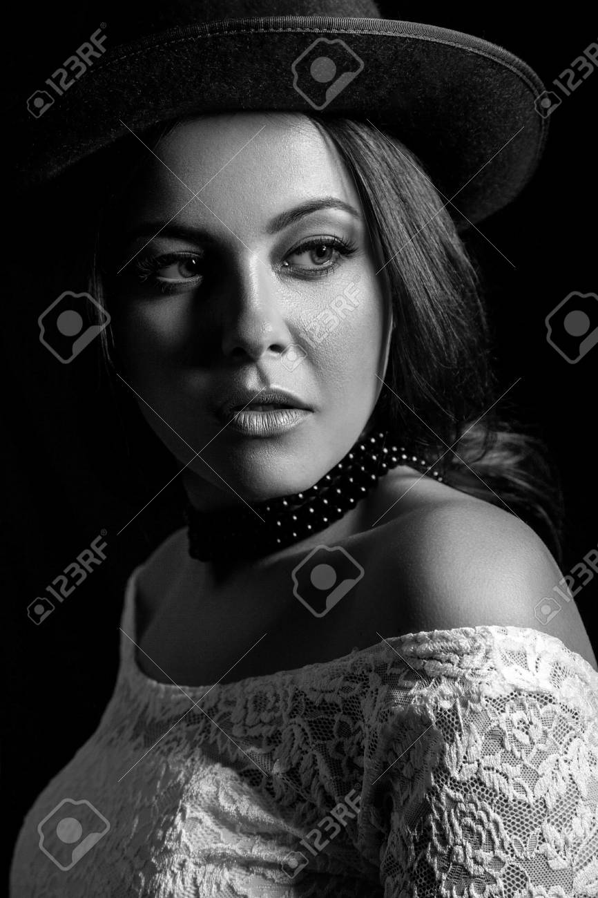 Classic retro beauty portrait black and white photography stock photo 70052687