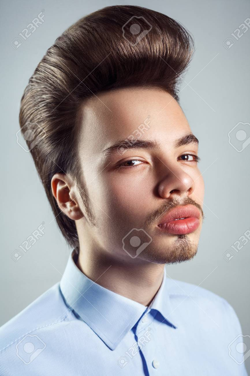 Portrait Of Young Man With Retro Classic Pompadour Hairstyle