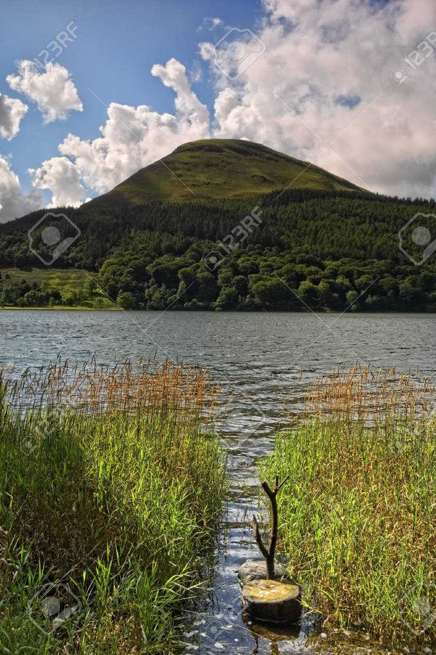 A view across Loweswater in the English Lake District, with reeds in the foreground Stock Photo - 3912835